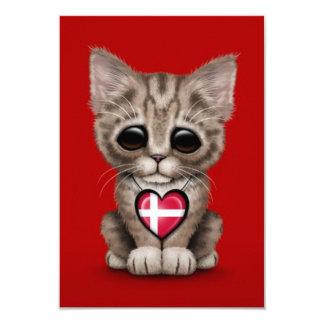 "Cute Kitten Cat with Danish Flag Heart, red 3.5"" X 5"" Invitation Card"