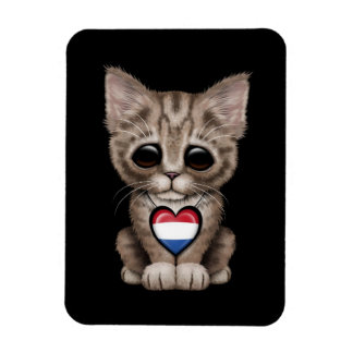 Cute Kitten Cat with Dutch Flag Heart black Flexible Magnet