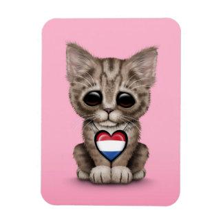 Cute Kitten Cat with Dutch Flag Heart pink Flexible Magnets