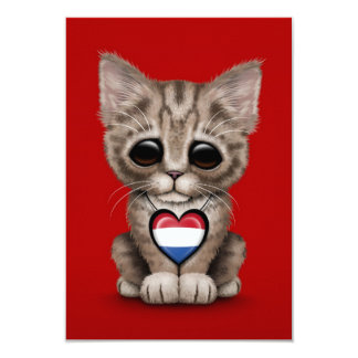 Cute Kitten Cat with Dutch Flag Heart, red Invites