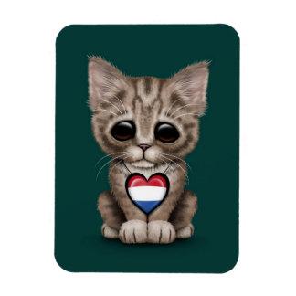 Cute Kitten Cat with Dutch Flag Heart, teal Rectangle Magnet