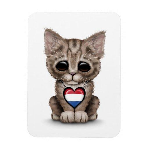 Cute Kitten Cat with Dutch Flag Heart, white Vinyl Magnets