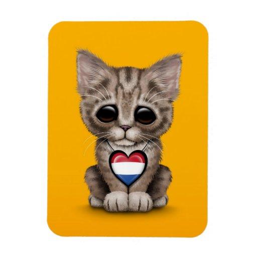Cute Kitten Cat with Dutch Flag Heart, yellow Vinyl Magnet