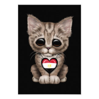 Cute Kitten Cat with Egyptian Flag Heart black Personalized Invitations