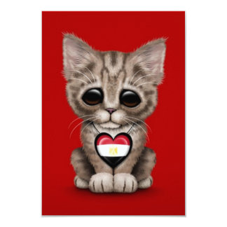 Cute Kitten Cat with Egyptian Flag Heart, red Invites