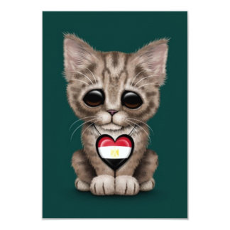Cute Kitten Cat with Egyptian Flag Heart, teal Personalized Invitations