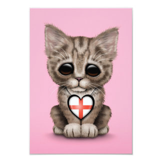 Cute Kitten Cat with English Flag Heart, pink Personalized Invitations