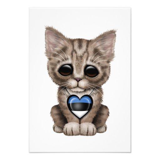 Cute Kitten Cat with Estonian Flag Heart Custom Announcement