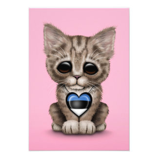 Cute Kitten Cat with Estonian Flag Heart pink Personalized Announcement