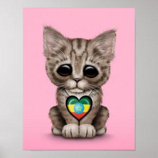 Cute Kitten Cat with Ethiopian Flag Heart pink Print