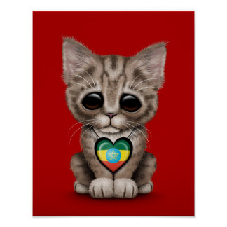 Cute Kitten Cat with Ethiopian Flag Heart red Posters