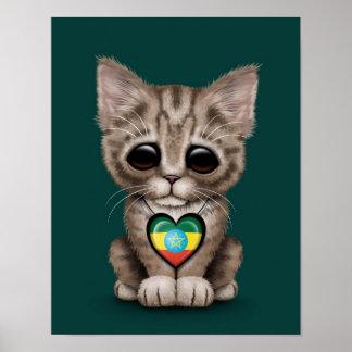 Cute Kitten Cat with Ethiopian Flag Heart teal Print
