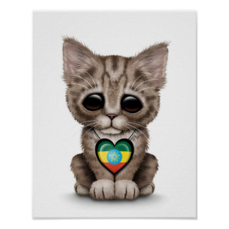 Cute Kitten Cat with Ethiopian Flag Heart white Posters