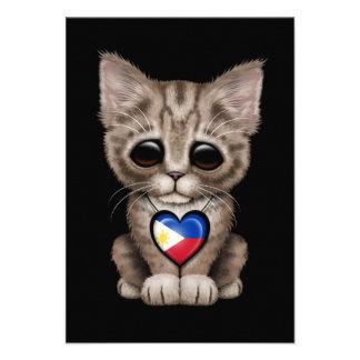 Cute Kitten Cat with Filipino Flag Heart black Invitation