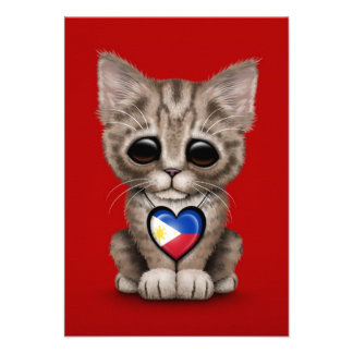 Cute Kitten Cat with Filipino Flag Heart, red Custom Announcement