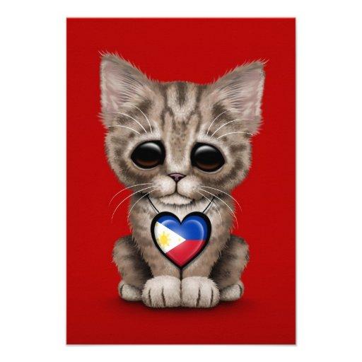 Cute Kitten Cat with Filipino Flag Heart, red Custom Announcement