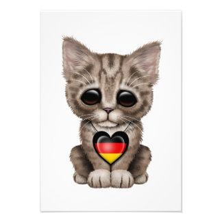 Cute Kitten Cat with German Flag Heart Announcement