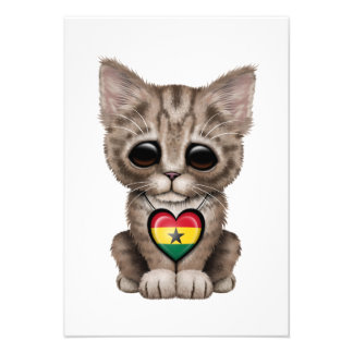 Cute Kitten Cat with Ghana Flag Heart Personalized Invitations