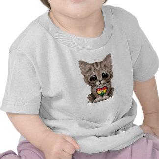 Cute Kitten Cat with Ghana Flag Heart Tshirt