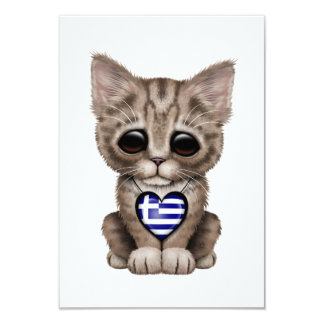 "Cute Kitten Cat with Greek Flag Heart 3.5"" X 5"" Invitation Card"