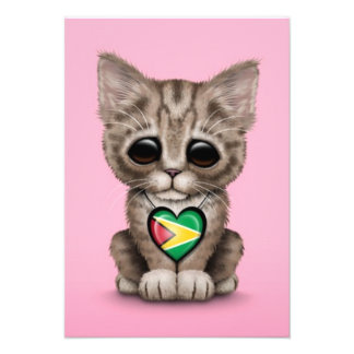Cute Kitten Cat with Guyana Flag Heart, pink Personalized Announcement