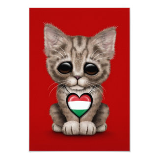 Cute Kitten Cat with Hungarian Flag Heart, red Personalized Invites