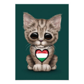 Cute Kitten Cat with Hungarian Flag Heart teal Personalized Invites