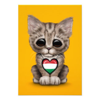 Cute Kitten Cat with Hungarian Flag Heart yellow Personalized Invites