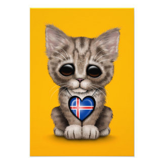 Cute Kitten Cat with Icelandic Flag Heart, yellow Invitations