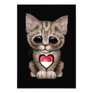 Cute Kitten Cat with Indonesian Flag Heart, black Custom Announcements