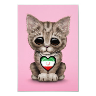 """Cute Kitten Cat with Indonesian Flag Heart, pink 3.5"""" X 5"""" Invitation Card"""