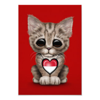 """Cute Kitten Cat with Indonesian Flag Heart, red 3.5"""" X 5"""" Invitation Card"""