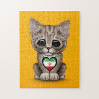 Cute Kitten Cat with Iranian Flag Heart, yellow Jigsaw Puzzle