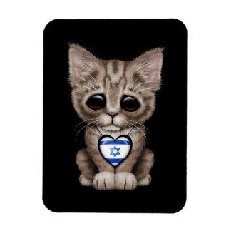 Cute Kitten Cat with Israeli Flag Heart, black Flexible Magnets