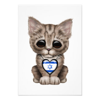Cute Kitten Cat with Israeli Flag Heart Personalized Invite