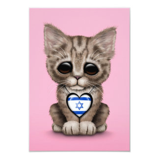 Cute Kitten Cat with Israeli Flag Heart, pink Personalized Invitation