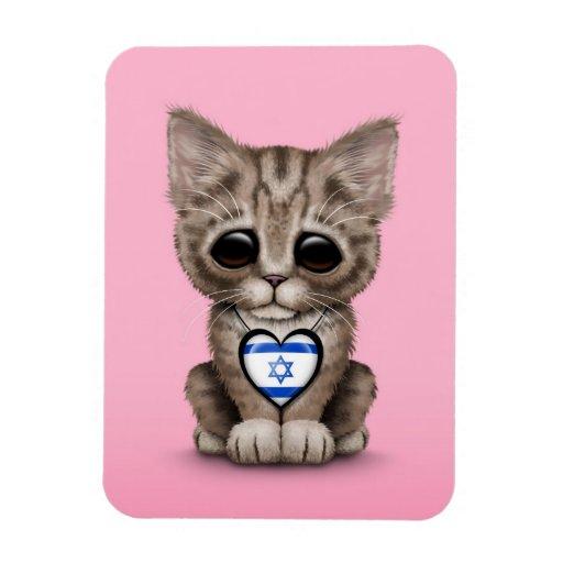 Cute Kitten Cat with Israeli Flag Heart, pink Flexible Magnet