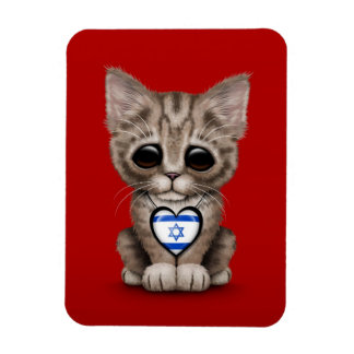 Cute Kitten Cat with Israeli Flag Heart, red Magnet