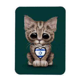 Cute Kitten Cat with Israeli Flag Heart, teal Vinyl Magnet