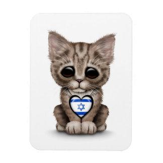Cute Kitten Cat with Israeli Flag Heart, white Flexible Magnet