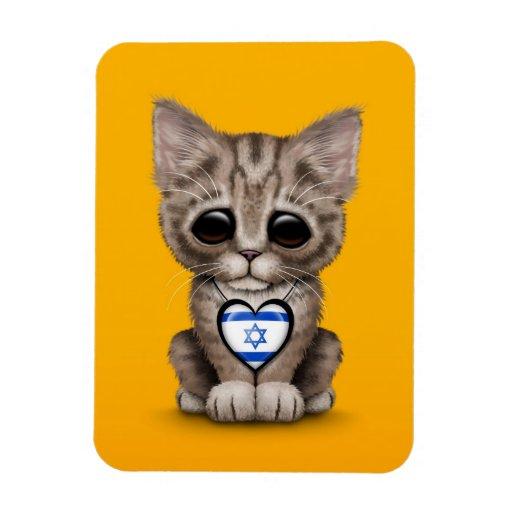 Cute Kitten Cat with Israeli Flag Heart, yellow Rectangular Magnet