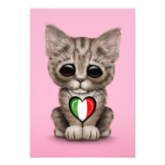 Cute Kitten Cat with Italian Flag Heart, pink Custom Announcements