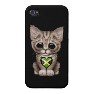 Cute Kitten Cat with Jamaican Flag Heart, black Case For iPhone 4