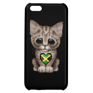 Cute Kitten Cat with Jamaican Flag Heart black iPhone 5C Case