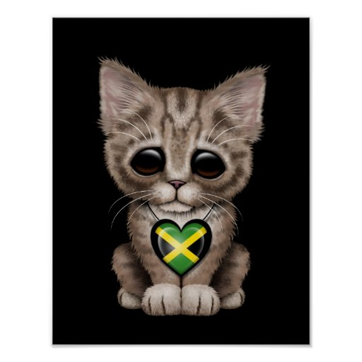 Cute Kitten Cat with Jamaican Flag Heart, black Posters