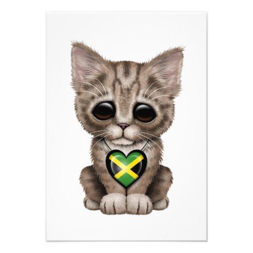 Cute Kitten Cat with Jamaican Flag Heart Custom Invite