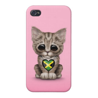 Cute Kitten Cat with Jamaican Flag Heart pink iPhone 4 Cover