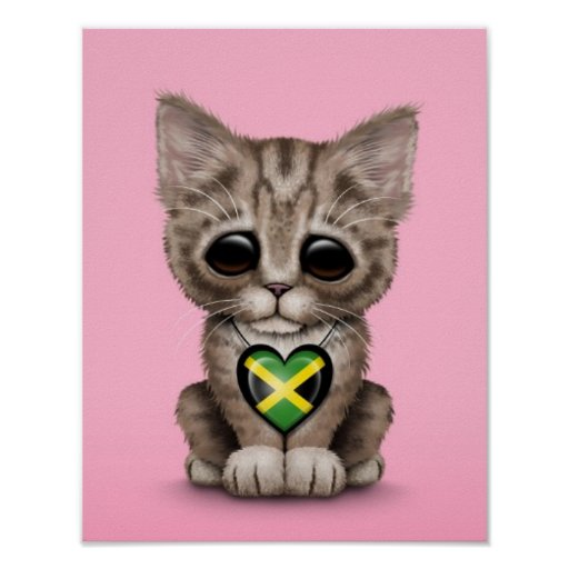 Cute Kitten Cat with Jamaican Flag Heart, pink Posters