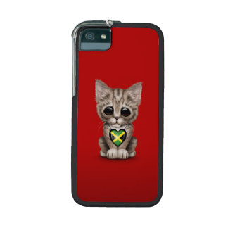Cute Kitten Cat with Jamaican Flag Heart, red Case For iPhone 5