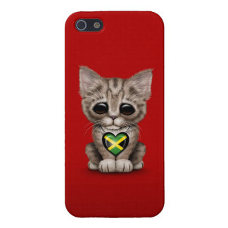Cute Kitten Cat with Jamaican Flag Heart, red iPhone 5/5S Cover